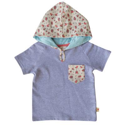 BBHT-G Ditzy Heart Coral short sleeve hoodie